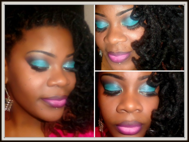 Saturday Night Live! A turquoise cut crease with a pink ombre lip...