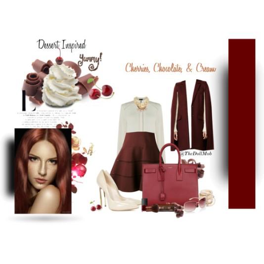Cherries chocolate and cream set