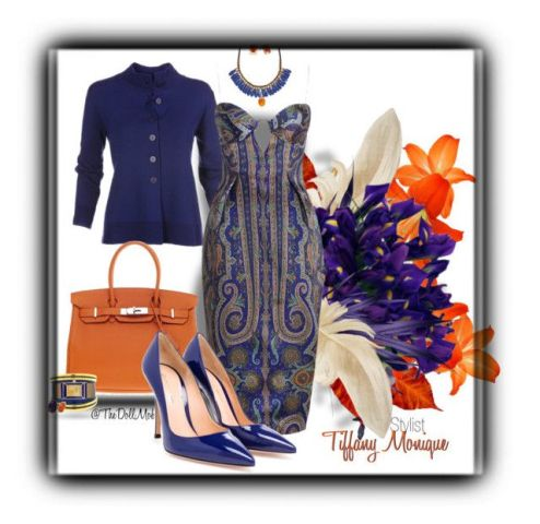 Navy blue and brown Hermes